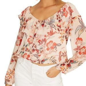 Sanctuary Pink Lady Like Floral Blouse Ruffle Neck